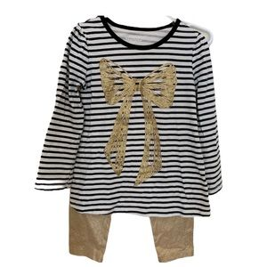 Girls Stripe Top and Gold Leggings